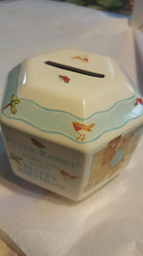 (Peter Rabbit 6 Sided fine porcelainl Coin Bank)