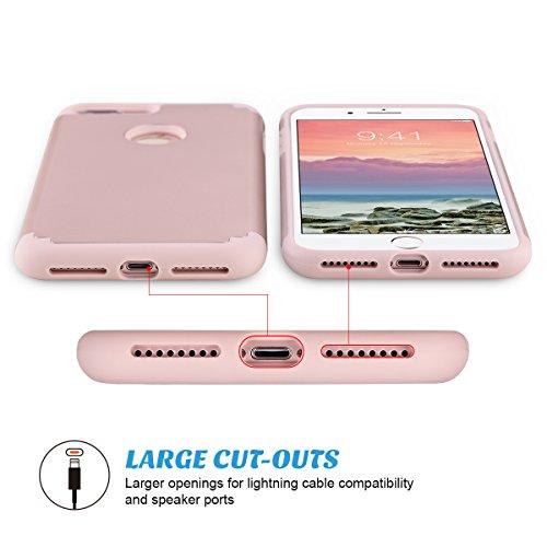 iPhone 7 Plus Cover, ULAK iPhone 7 Plus Custodia ibrida a protezione integrale con parte esterna in 2 strati di morbido silicone e interno rigido Case Cover per Apple iPhone 7 Plus (Oro Rosa)