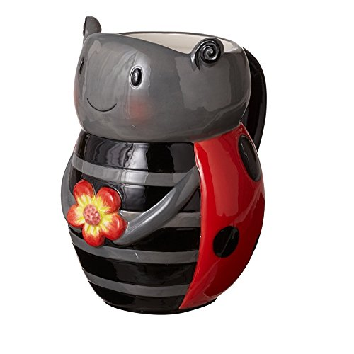 Midwest CBK Cute Earthenware Animal Shaped Novelty Coffee Mug with Handle - 15 Ounce (Ladybug)