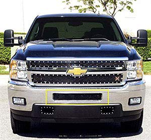 (T-Rex Grilles 52114 Upper Class Small Mesh Steel Black Finish Bumper Grille Overlay for Chevrolet Silverado HD)