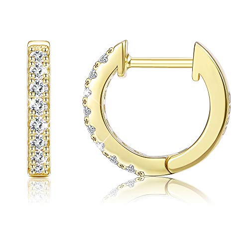 Sllaiss 925 Sterling Silver Hoop Earrings with Swarovski Cubic Zirconia Sparkling Silver Small Huggie Earring Set for Women,Gold-tone Girls,Wedding Anniversary Fashion Jewelry