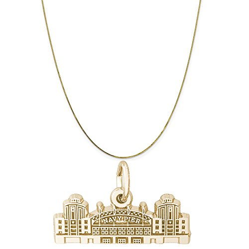 Rembrandt Charms 14K Yellow Gold Navy Pier Charm on a 14K Yellow Gold Box Chain Necklace, 16