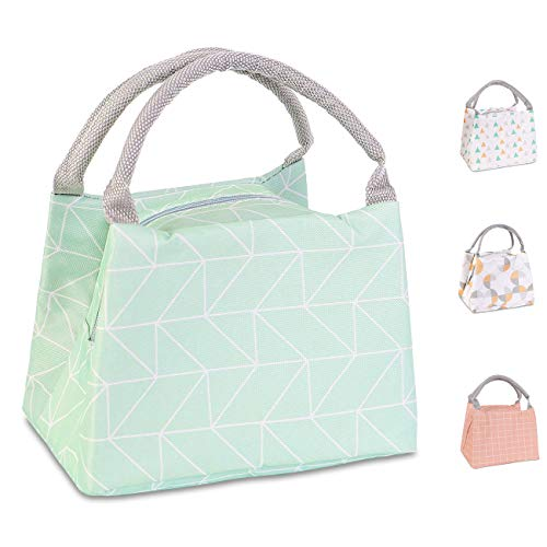 Buringer Reusable Insulated Lunch Bag Cooler Tote Box Meal Prep for Men & Women Work Picnic or Travel (Geometry Green Small Size)
