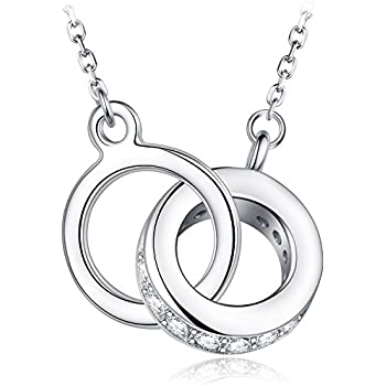 8a391cf50 HUIMEI Sterling Silver Double Zirconia Ring Interlocking Pendant Necklace