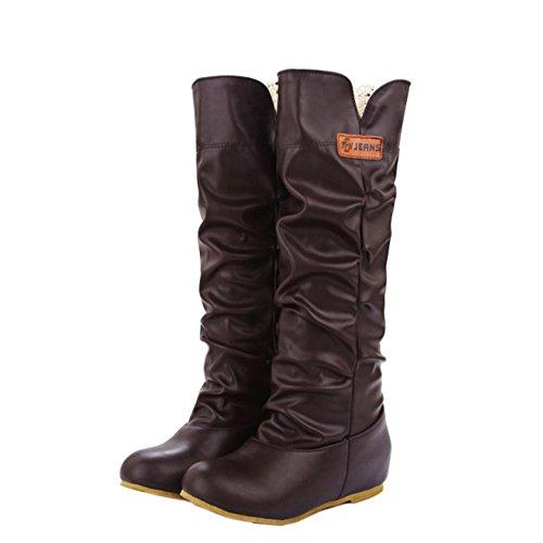 ENMAYER Womens High Heel PU Material rodilla botas altas Wedges calientes zapatos para las mujeres Botas de invierno Marrón