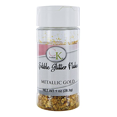 Edible Glitter Flakes, Metallic Gold, 1 Ounce