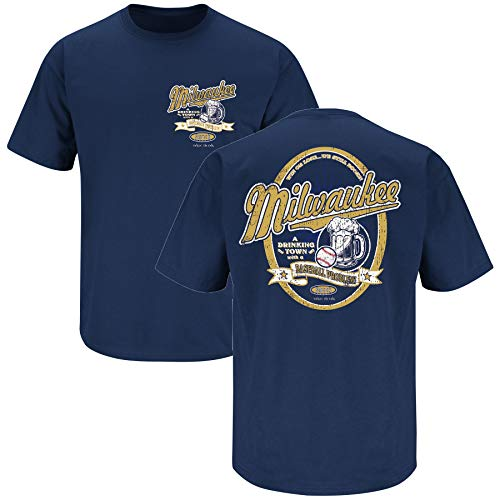 Milwaukee Baseball Fans. Milwaukee A Drinking Town with A Baseball Problem Navy T-Shirt (Sm-5X) (Short Sleeve, X-Large) ()