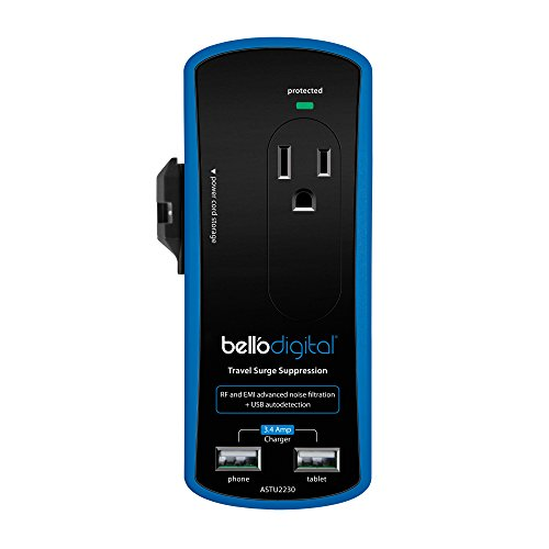 Bell'O Digital ASTU2230  2-Outlet and 2 USB Charging Port Surge Protector with Universal Travel Adapter