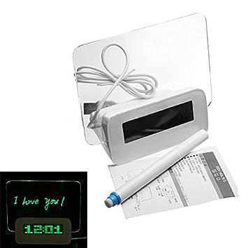 Sonline Luz Fluorescente Foro LED de alarma del reloj del calendario del termometro de 4 puertos USB - Verde: Amazon.es: Hogar