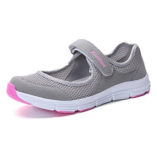 Calza del grey Transpirables Zapatos Verano Ocio Inferior de Malla Deportivos Madre los de de Zapatos Hasag Suaves Light Parte del Malla Zapatos la Zapatos q5gtAwg