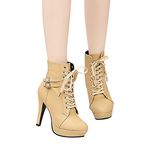 Clearance Sale! Women High Heeled Boots Cinsanong Round Head Leather Lace-up Boots Platform Martin Boots