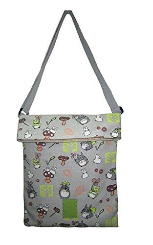 TOTORO Shoulder Crossbody Flat Bag Purse Gray Anime gift 60197 Canvas Kawaii