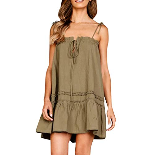 Sunhusing Ladies Off-The-Shoulder Spaghetti Straps Lace-Up Solid Pleated Ruffled Pettiskirt Mini Party Dress