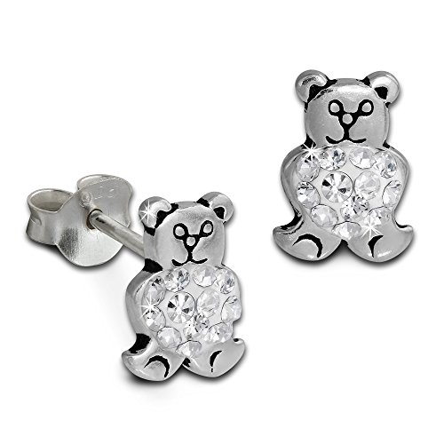 (SilberDream Glitter Earring Teddy bear with white Czech crystals, stud earring, 925 Sterling Silver GSO607W)