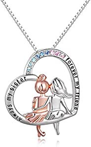 Sisters Gifts from Sister Sterling Silver Heart Necklace Female Friendship Jewelry