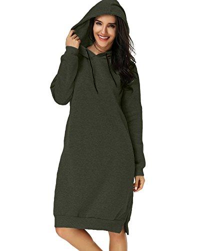 Kidsform Womens Hoodie Long Tunic Dress Solid Pullover Loose Sweater Hoodie Tops Sweatshirt Long Tops