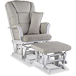 Storkcraft Tuscany Custom Glider and Ottoman with Free Lumbar Pillow, White/Taupe Swirl