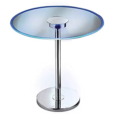 Beau Round Glass LED End Table With Storage Area Side Table Décor End Table  Silver Cocktail Table