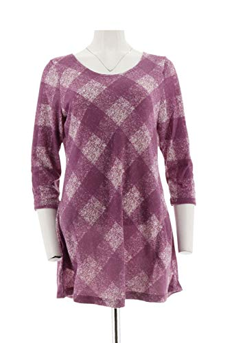 Attitudes Renee Plaid Printed Knit Tunic Pockets 3/4 SLVS Orchid M # A270672 from Attitudes by Renee