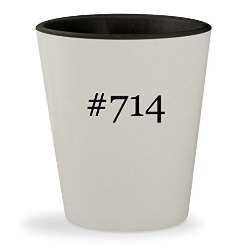 #714 - Hashtag White Outer & Black Inner Ceramic 1.5oz Shot Glass