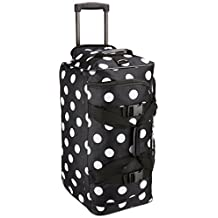 Rockland Luggage Rolling Duffle Bag, Black Dot, 22-Inch