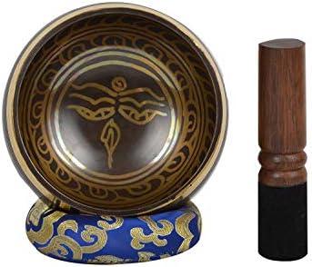 Ideal para Mindfulness-BUD EYE-2 B10 Taz/ón tibetano de canto de meditaci/ón con grabado local y caso /étnico