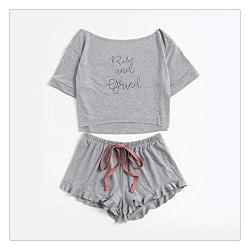 High Low Top and Frill Hem Shorts Pajama Set Women Letter Set Two Piece Grey Boat Neck Long Sleeve Pajama Set Gray L