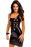 Amour- Gothic Hot Sleeveless Dress Metallic Wetlook Clubwear Stripper (3112:Black)