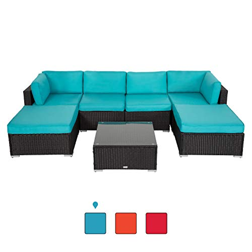 Peach Tree 7 PCs Outdoor Patio PE Rattan Wicker Sectional Sofa Furniture Set with 2 Pillows and Tea Table (Sale Patio Furniture Closeout)