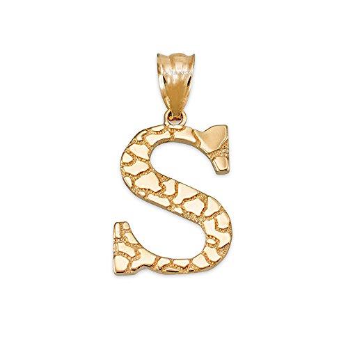 LA BLINGZ 10K Yellow Gold Nugget Initial Letter Alphabet Charm Pendant (Letter S)