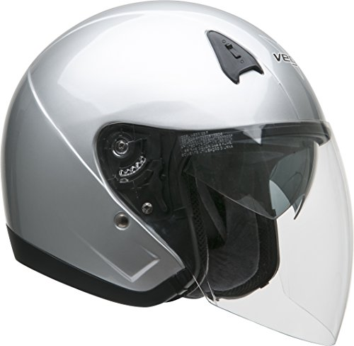Face Buckle (Vega VTS1 Open Face Helmet with Quick Release Buckle (Silver,)