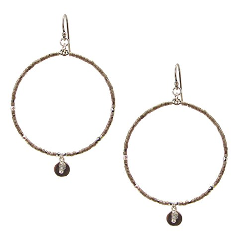 Chan Luu Silver Hoop Earrings Polished & Matte Silver Seed Beads Chan Luu Silver Earrings