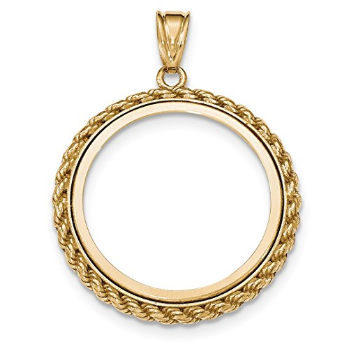 14k Yellow Gold Casted Rope Prong 1/2p Bezel Necklace Pendant Charm Coin Holders/bezel Chinese Pa Fine Jewelry For Women Gift Set