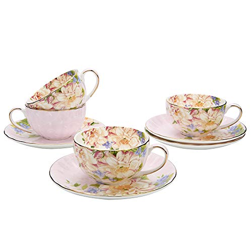 JinGlory Fine Bone China Tea Cup and Saucer Set of 4 Golden Edge Coffee Cup Set for Mocha Latte Cappuccino - Tea Saucer Edge
