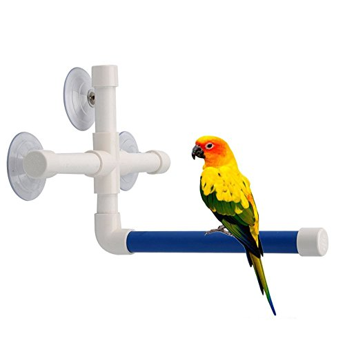 Bird Parrot Stand Perch Shower Perch Standing Toy Portable Suction Cup Parrot Bath Stands Suppllies Holder Platform Parakeet Window Wall Hanging Play (3 Suction Cups1)
