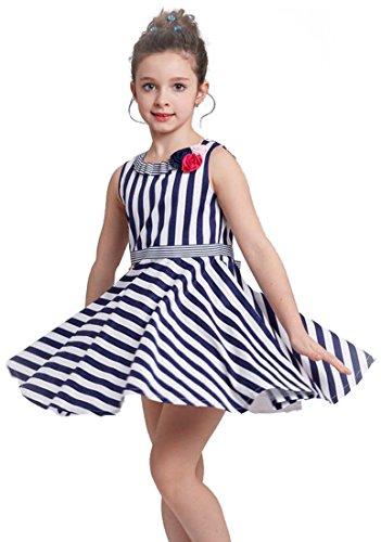 Smapavic Summer Girls Toddler Kids Sleeveless Stripe Printing Kint Princess Party Casual Dress