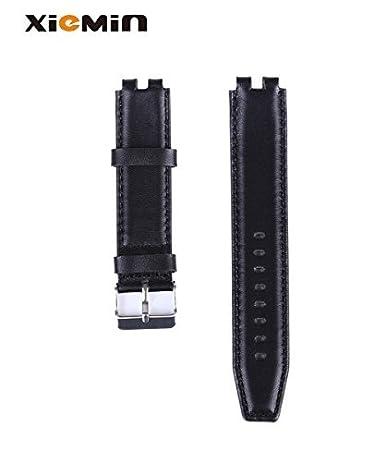 Amazon.com: XIEMIN Black Genuine Leather Watch Band/Strap ...