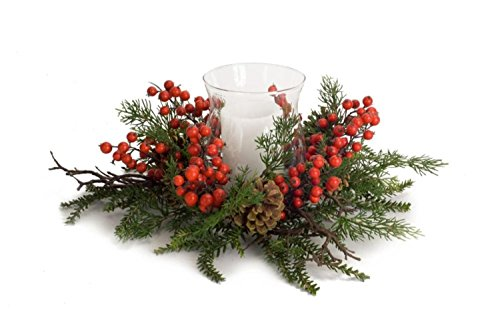 """Diva At Home Pack of 2 Green Pine and Red Berries Christmas Candle Holder 19"""""""