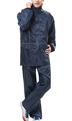 Liveinu Unisex PVC 2-Piece Protective Rainsuit Rainwear Dark Blue 2XL