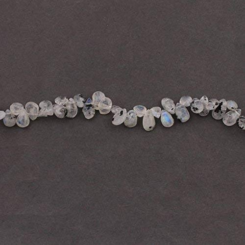 - 1 Strand White Labradorite Faceted Briolettes - Pear Drop Beads 8mmx6mm-11mmx7mm 7.5 Inches by Gemswholesale