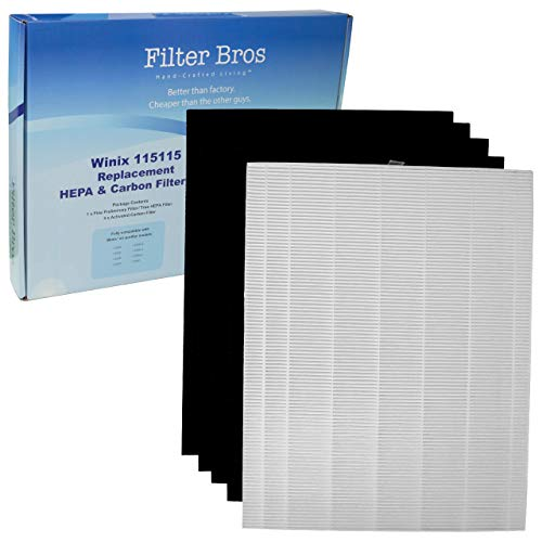 115115 True HEPA Replacement Filter 'A' Combo for Winix Plasmawave Series Home Air Cleaner Purifiers(6300, P300, 5300, 5500, 5500-2, 5300-2, 6300-2, 9500, C535) Plus 4 Carbon Odor Reducing Pre-Filters