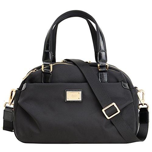 Women Crossbody Singer Bag Nylon Dual Use Casual waterpoof Laifu Black handbag OutdoorWeekend Shopping (Dual Use Handbag)