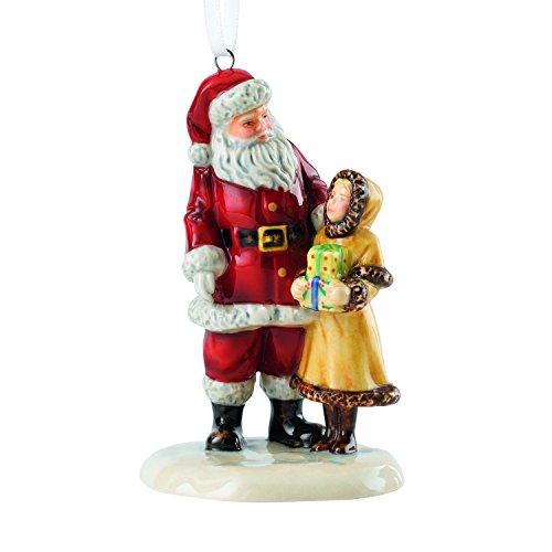 - Royal Doulton Traditional Christmas Santa with Girl Ornament 3.1