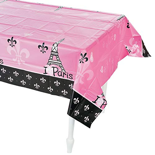 Fun Express - Perfectly Paris Tablecover for Birthday - Party Supplies - Table Covers - Print Table Covers - Birthday - 1 Piece -