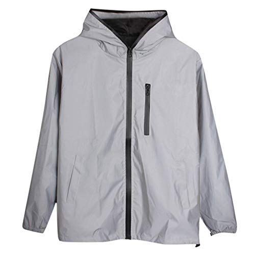 YONSIN Reflective Outdoor Cycling Jacket Waterproof Breathable Windproof High Visibility Be Totally Reflective Silver…