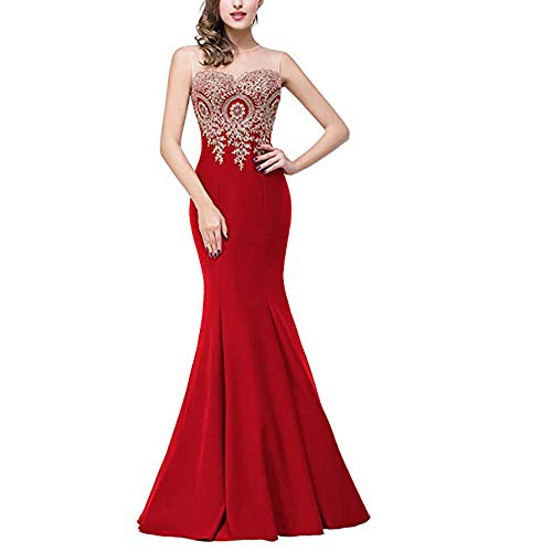 Sleeveless For Formal Abiti Red Vestito Maxi D'onore Lungo Auming Green Women color Size Da Appliques Lace Mermaid Donna Damigella S Evening Dress Lunghi gw0Ovzq