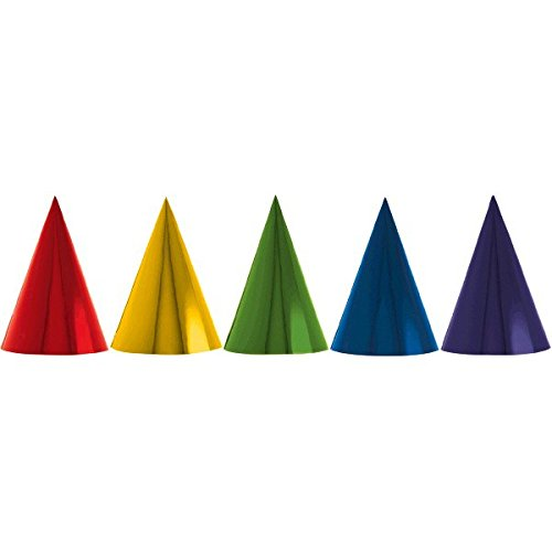 Blue Cone Party Hats (Fun Rainbow Birthday Party Foil Cone Hats , Pack of 12, Multi , 7