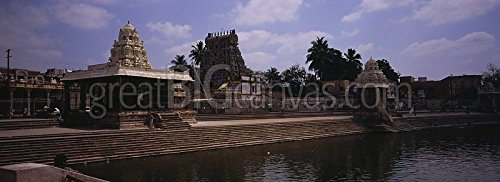 Reflection of temples in water, Mahamaham Tank, Kumbakonam, Thanjavur, Tamil Nadu, India Gallery-Wrapped Canvas