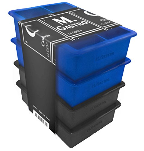Silicone Ice Cube Trays by M.Gastro, SAVE WITH OUR ECONOMY 4 PACK, Extra Large Ice Cubes, Space Saving Design, 6 Cavity (Blue/Black) (Cube Saving Trays Ice Space)