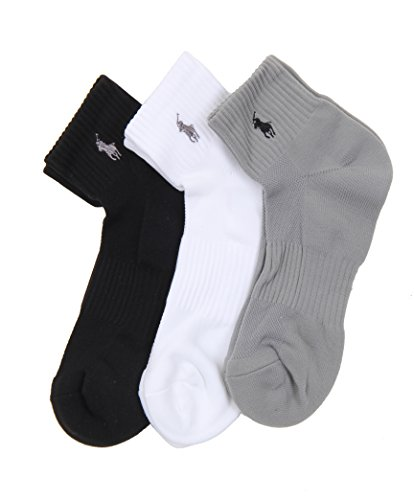 Polo Ralph Lauren Tech Athletic Quarter Top Socks - 3 Pack (824063PK) O/S/Black Assorted